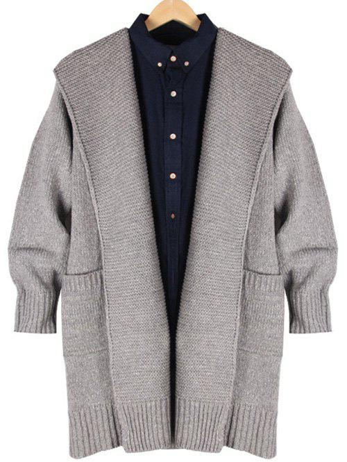 Hooded Ribbed Pocket Front Longline Cardigan - GRAY 2XL