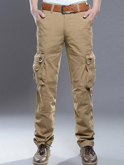 Zipper Fly Pockets Embellished Plus Size Cargo PantsMen<br><br><br>Size: 30<br>Color: KHAKI