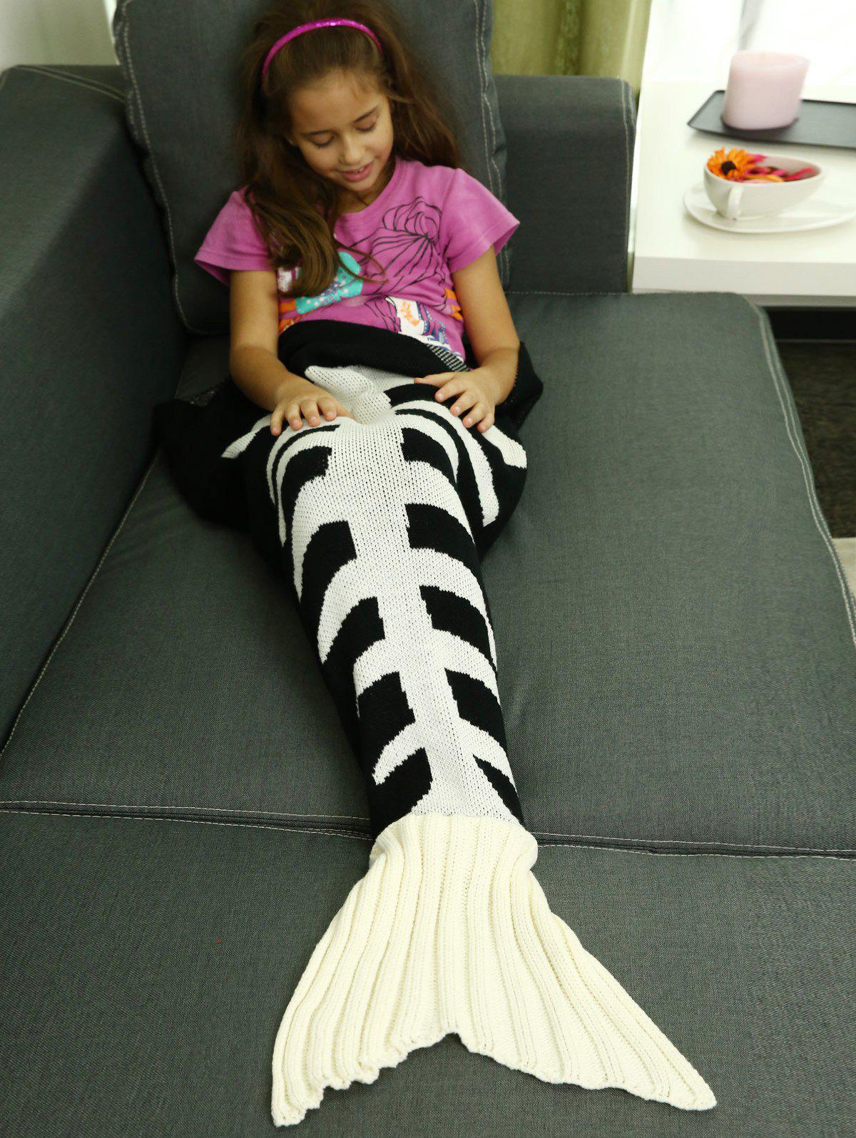 ComfortableFishbone Kintted Mermaid Tail Blanket For Kids - WHITE/BLACK L
