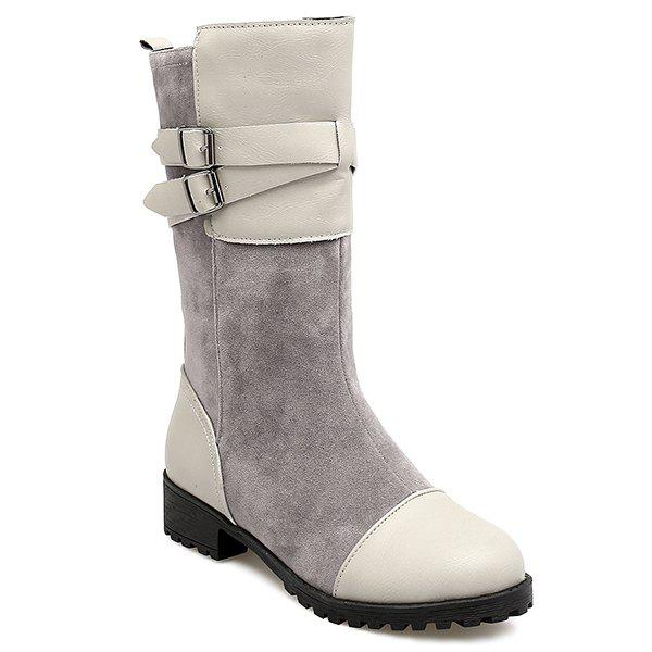 Double Buckle Cross Straps Mid Calf Boots double buckle cross straps mid calf boots