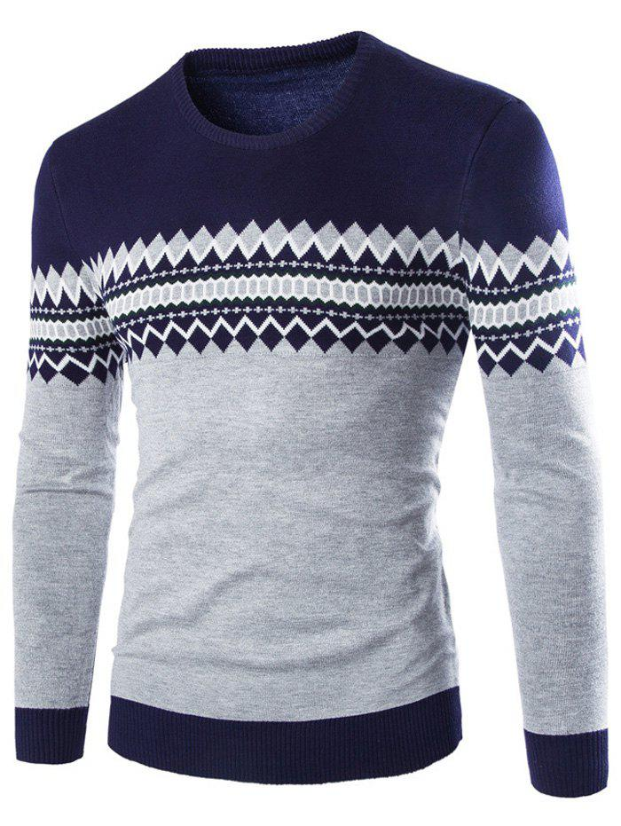 Geometric Pattern Crew Neck Color Block Knitwear - CADETBLUE M