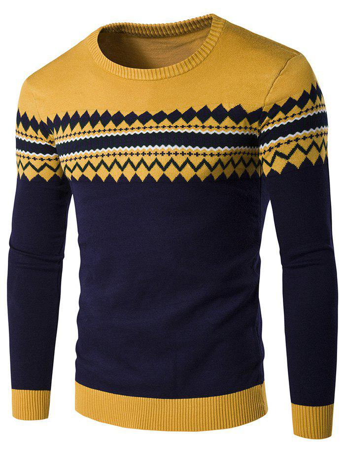 Geometric Pattern Crew Neck Color Block Knitwear - YELLOW M