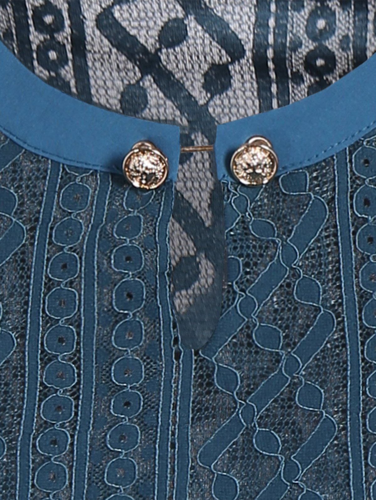 Keyhole Metal Button Embellished Lace Bell Sleeve Blouse - LIGHT BLUE M