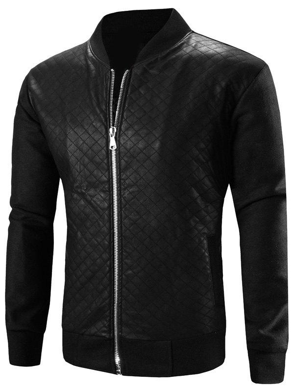 Stand Collar Zip-Up Argyle PU-Leather Splicing Design Jacket - BLACK 3XL
