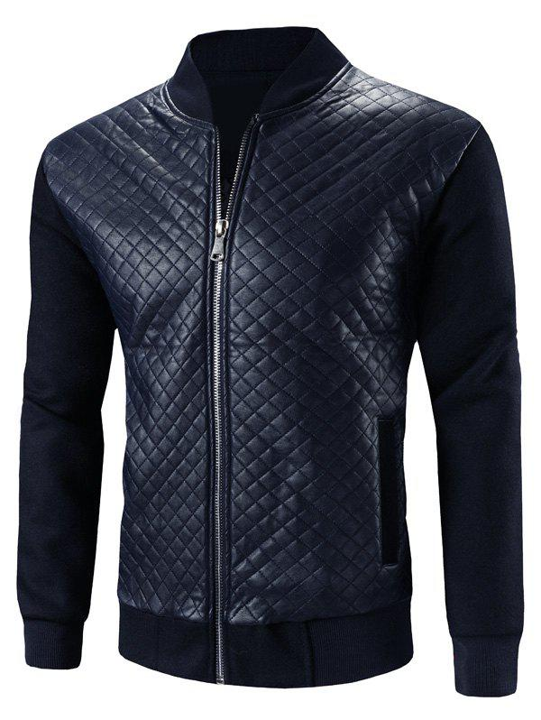 Stand Collar Zip-Up Argyle PU-Leather Splicing Design Jacket - BLUE L