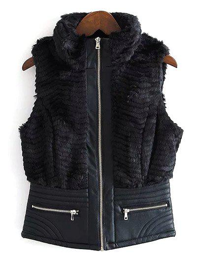 High Neck PU Leather Spliced Faux Fur Waistcoat - BLACK S