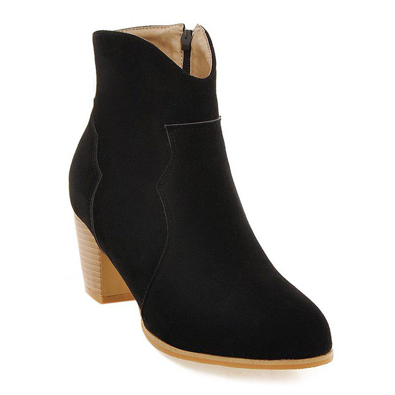 Chunky Heel Suede Zip Ankle Boots - BLACK 38