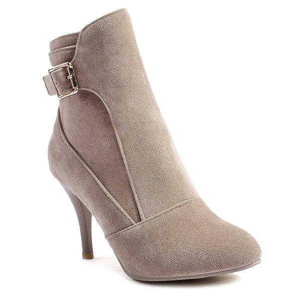 Pointed Toe Buckle Strap Ankle Boots - APRICOT 38