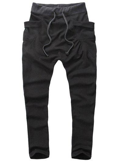 Lace-Up Low-Slung Crotch Narrow Feet Pants - BLACK 2XL