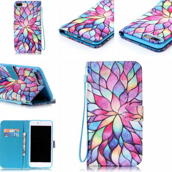 Artistique Wallet Card Phone Lotus PU pour iPhone 7 Plus - coloré