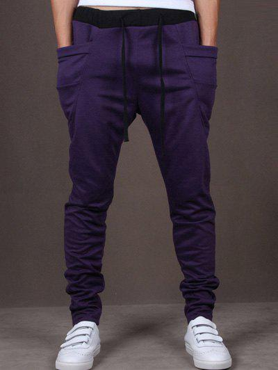 Lace-Up Low-Slung Crotch Narrow Feet Pants - PURPLE L