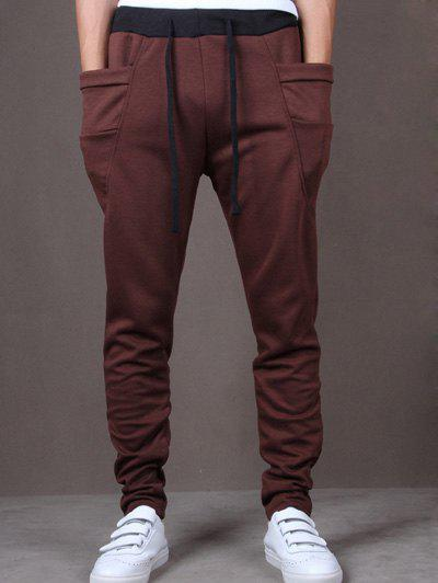 Lace-Up Low-Slung Crotch Narrow Feet Pants - BROWN M