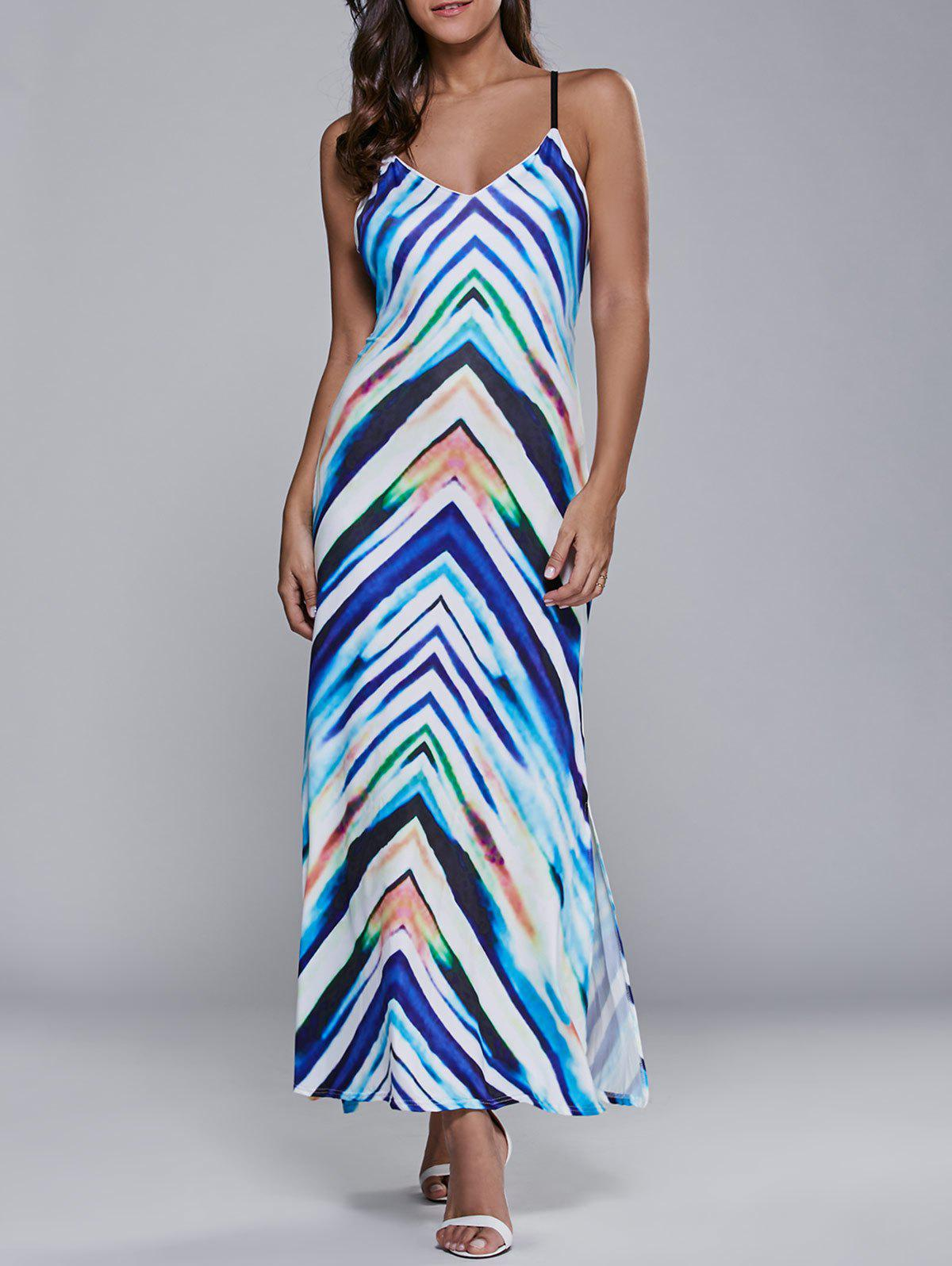 Lace Up Striped Maxi Dress - Bleu S