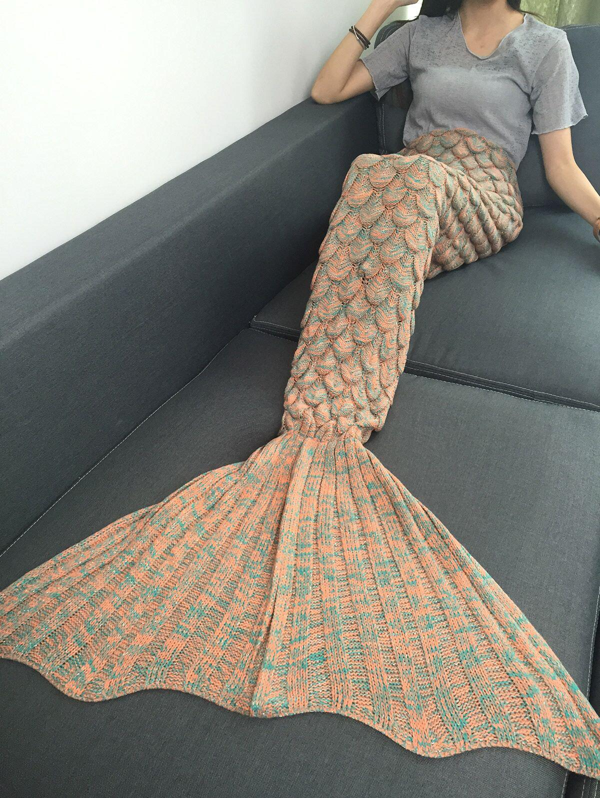 Soft Fish Scale Knitted Sofa Wrap Mermaid Blanket super soft knitted fishbone kids wrap halloween mermaid blanket and throws