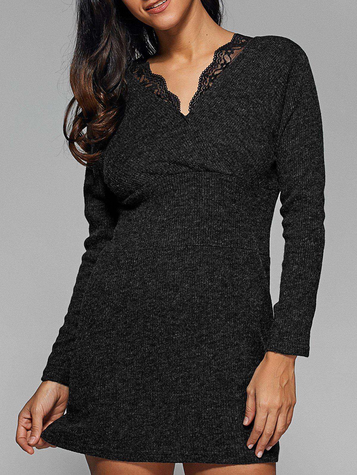 Ribbed Lace Insert Short Jumper Dress - DEEP GRAY 2XL