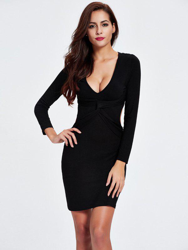 Twist Backless Long Sleeve Club Skinny Dress twist
