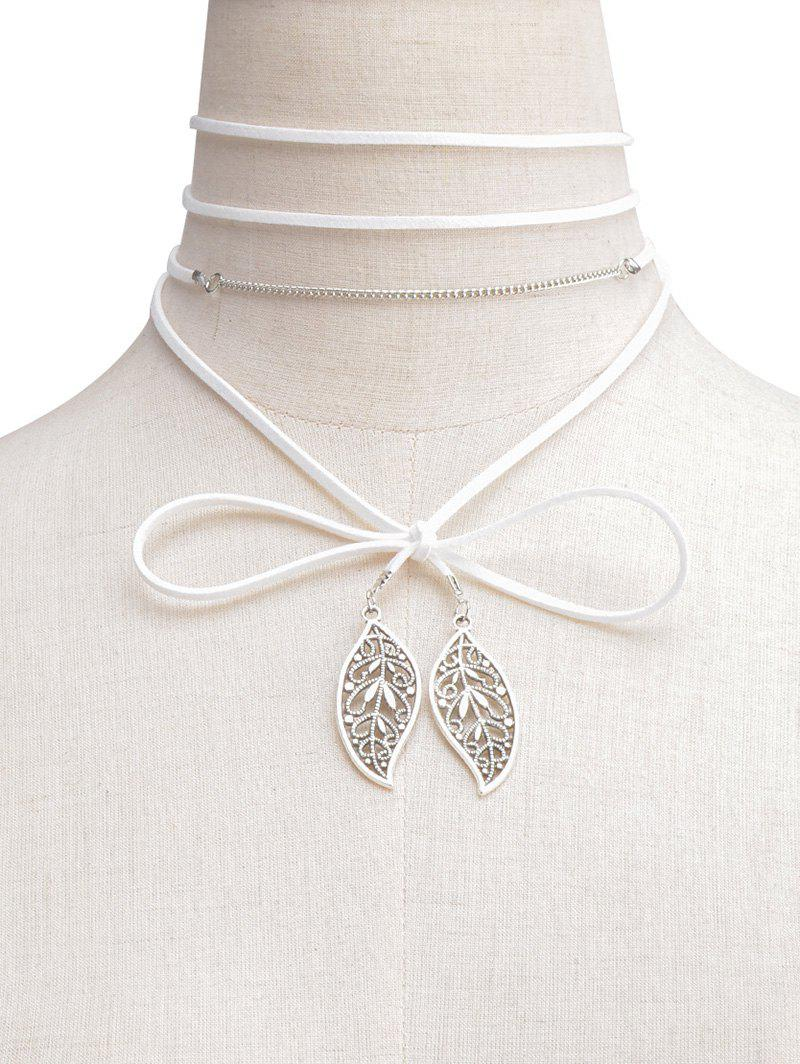 Hollowed Leaf Wrap Choker Necklace