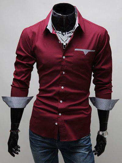 Turn-down Collar Breast Pocket Long Sleeve Button Up Shirt - WINE RED 3XL
