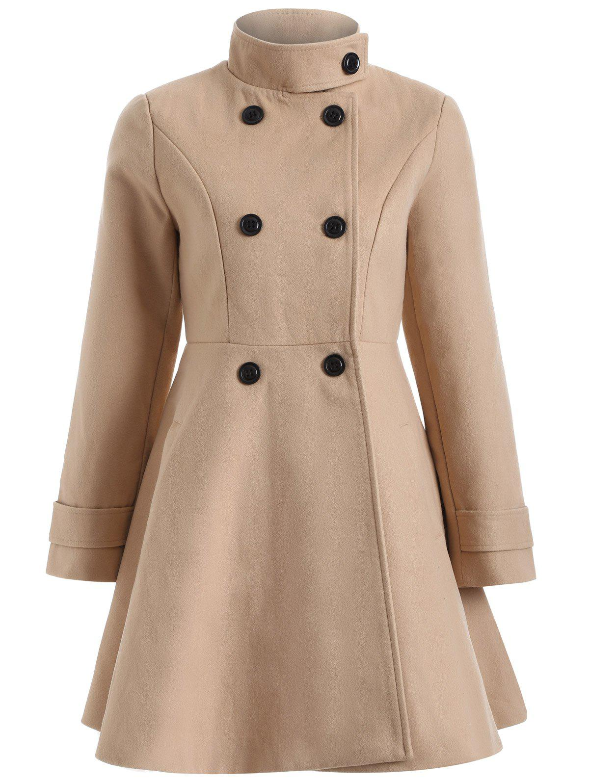 Warm Double-Breasted Felt Trench CoatWomen<br><br><br>Size: L<br>Color: CAMEL