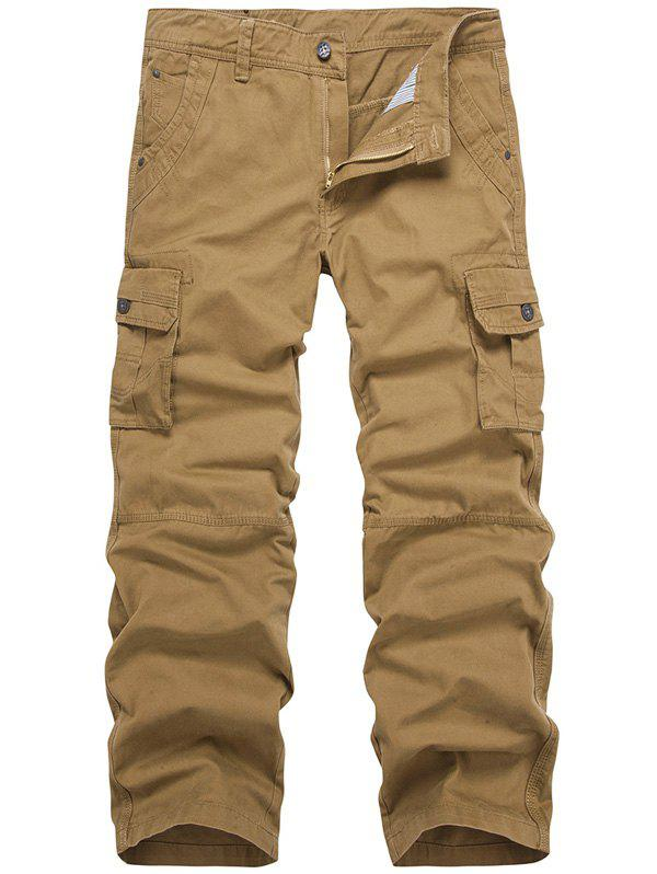Zipper Fly Multi-Pocket Straight Cargo Pants - EARTHY 31