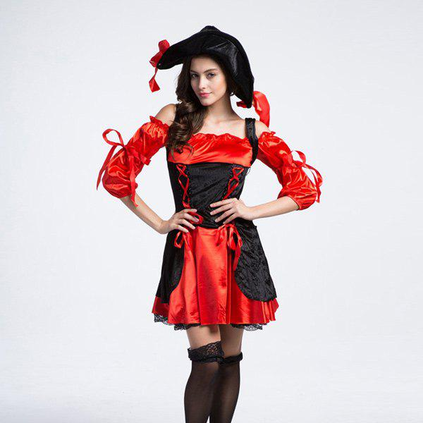 Classical Halloween Party Cosplay Women Pirate Costume - RED/BLACK XL