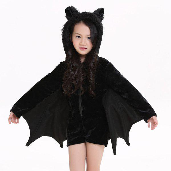 Halloween Party Cosplay Bat Zipper Jumpsuit Connect Wings Kids Costume For Girls - BLACK S