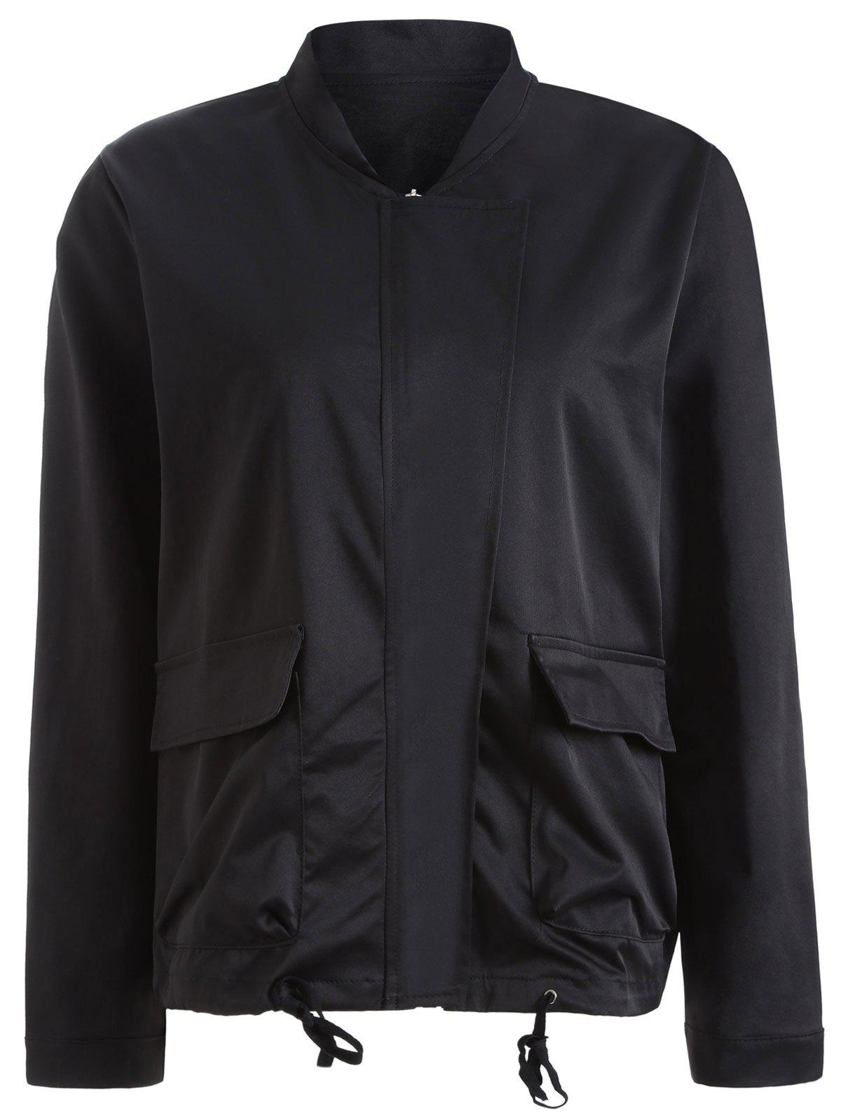 Autumn Drawstring Pockets Satin Bomber Jacket - BLACK XL