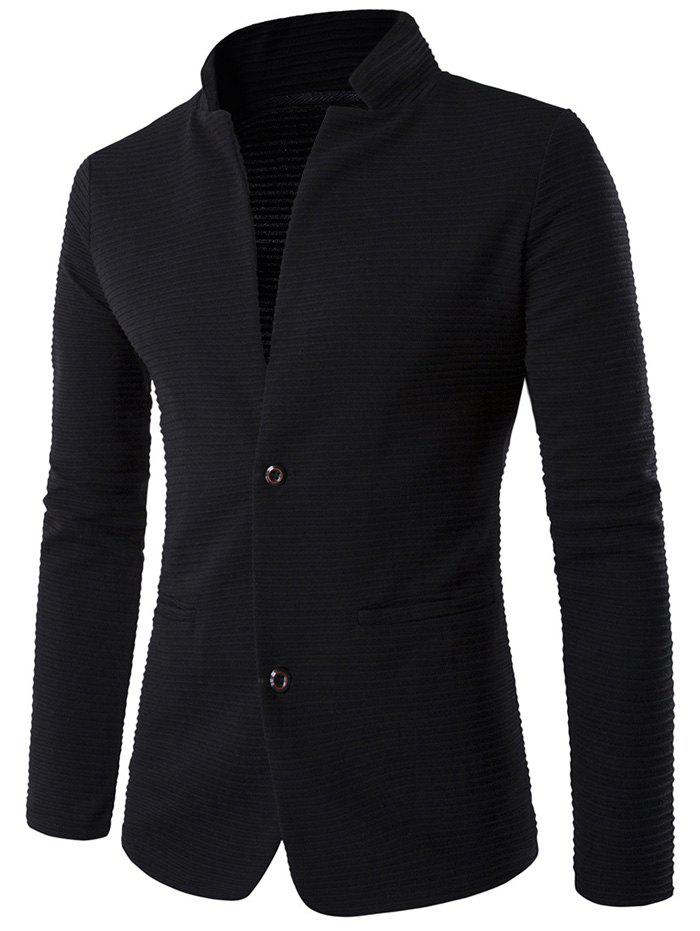 Buy Stand Collar Applique Sleeve Textured Blazer BLACK
