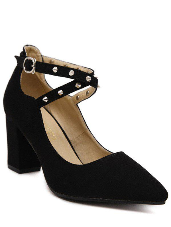 Chunky Heel Rivet Cross-Strap Pumps - BLACK 39
