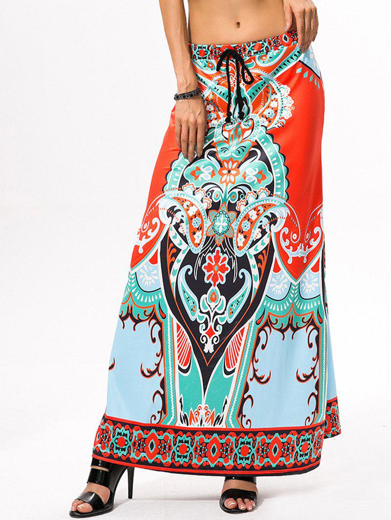 Drawstring Ethnic Style African Print Maxi Skirt - JACINTH ONE SIZE