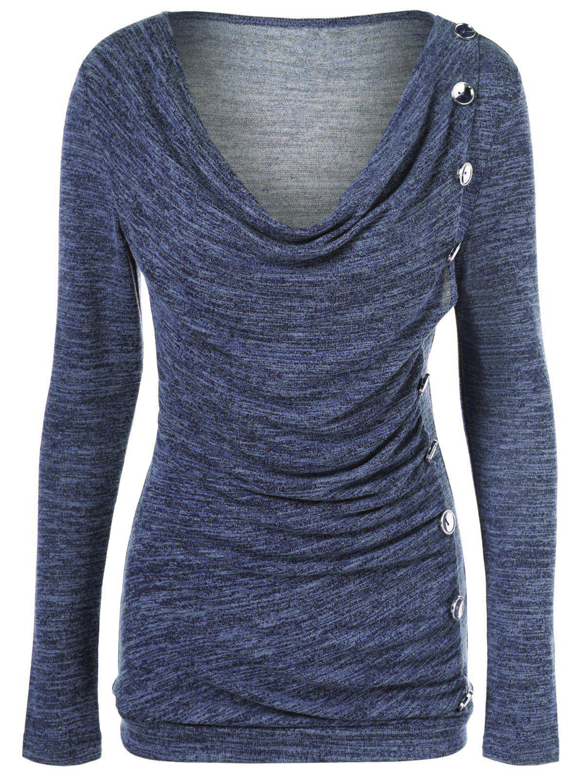 Side Button Cowl Neck Knitted Long Sleeve Sweater - PURPLISH BLUE M
