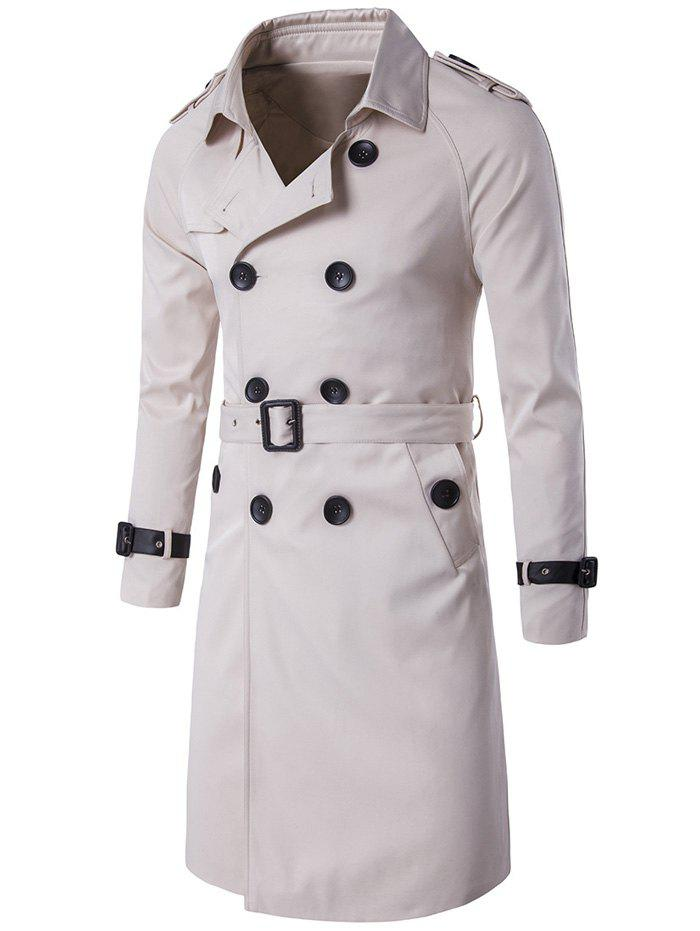 Notched Collar Double Breasted Trench Coat - OFF WHITE 2XL