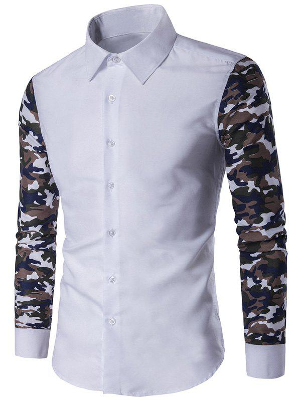 Button Up Camouflage Sleeve Shirt - WHITE L
