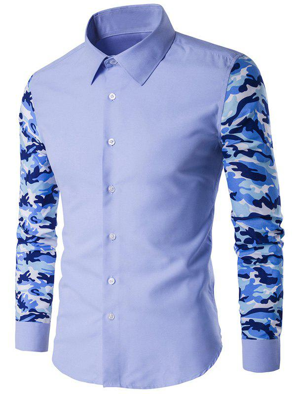 Bouton Shirt Up Camouflage Sleeve - Bleu Léger 4XL