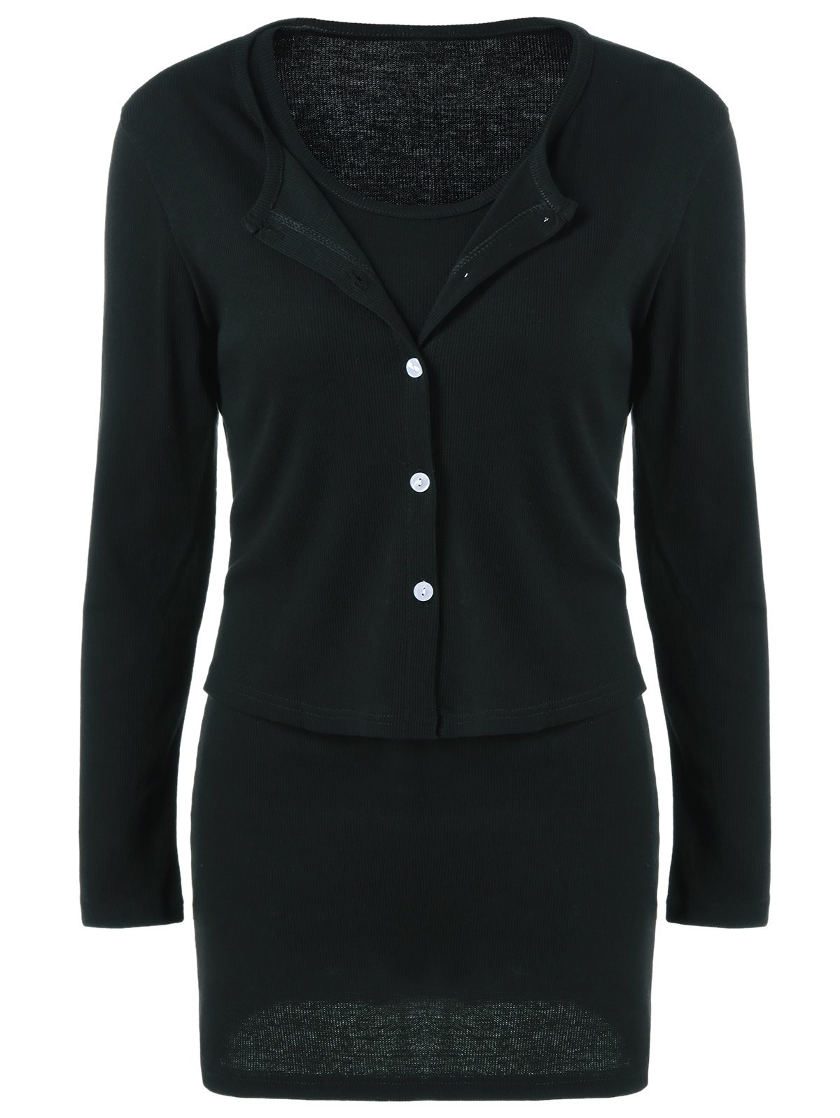Sleeveless Skinny Dress + Buttoned Outerwear TwinsetWomen<br><br><br>Size: 5XL<br>Color: BLACK