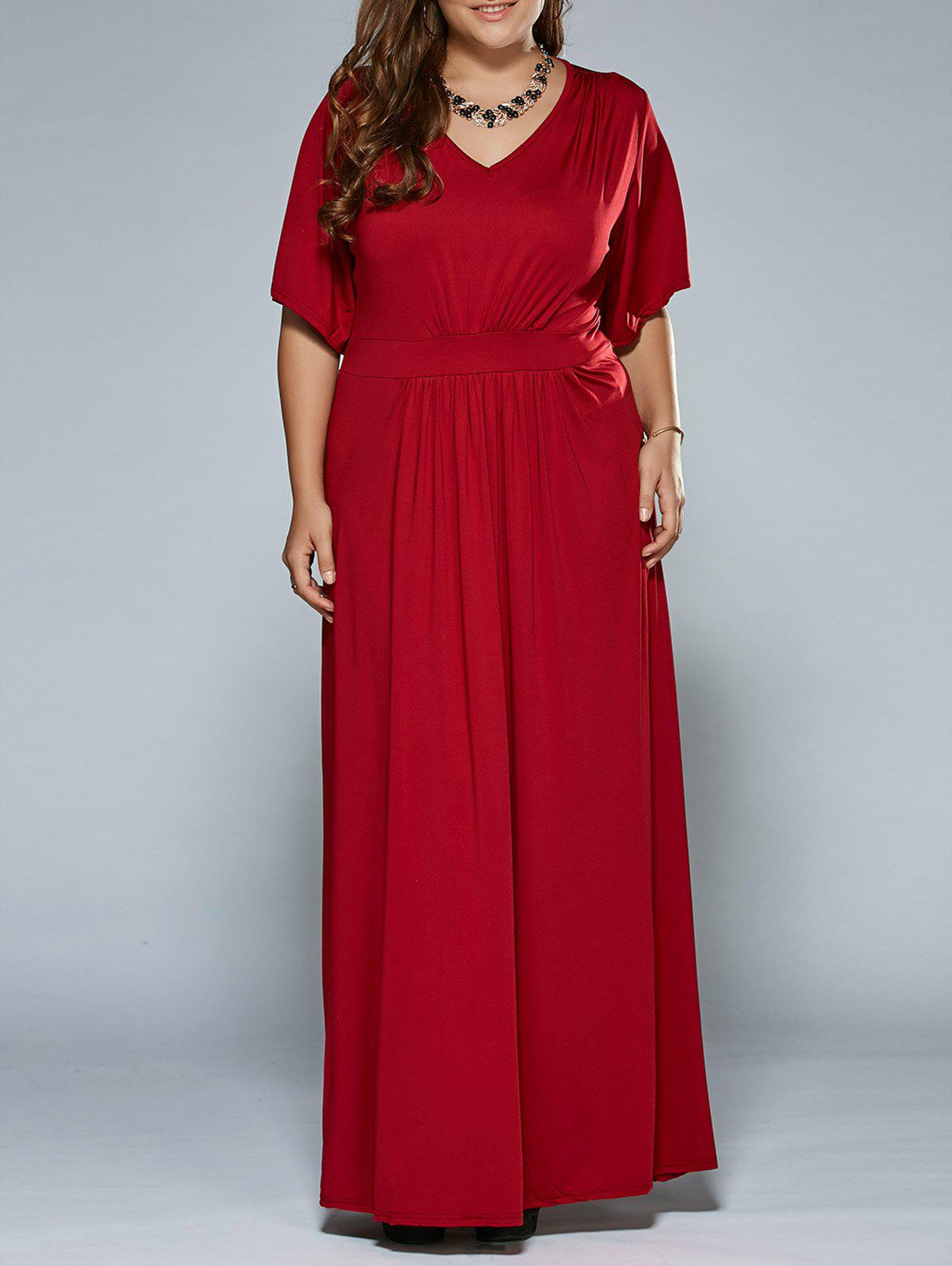 Ruched V Neck Maxi Prom Dress - WINE RED 3XL