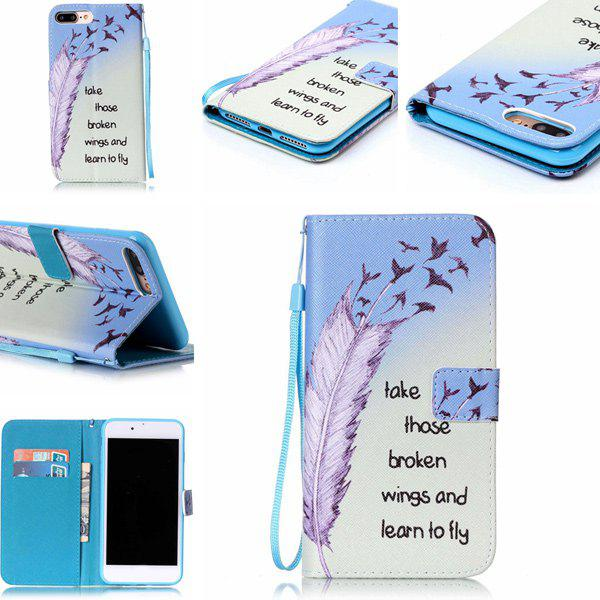 Feather Letter Pattern Wallet Phone Case For iPhone 7 Plus for iphone 7 plus pattern printing light spot decor leather wallet case with lanyard cute cow