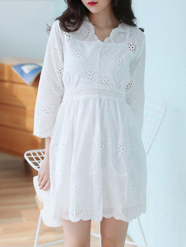 V Neck Embroidered Dress With Cami Top - WHITE ONE SIZE