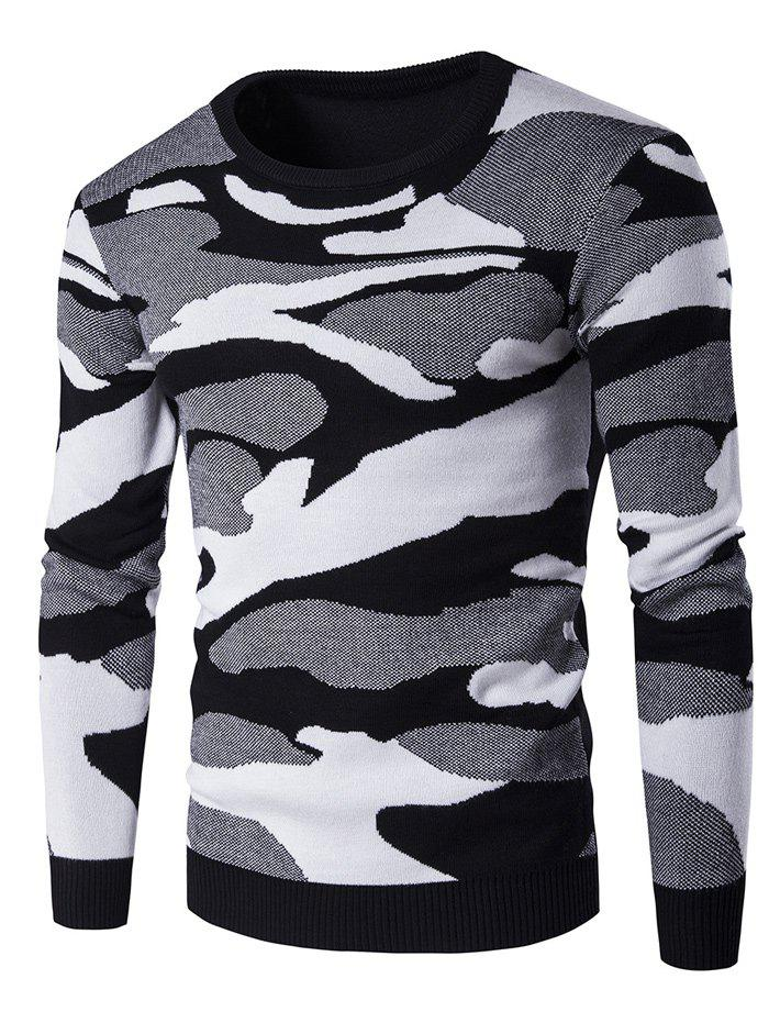Crew Neck Long Sleeve Camouflage Pattern Sweater long sleeve forest pattern crew neck sweater