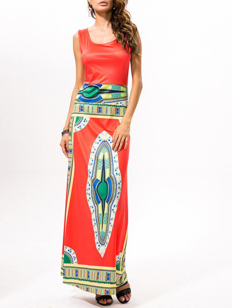 Printed Ethnic Style Maxi DressWomen<br><br><br>Size: XL<br>Color: WATERMELON RED