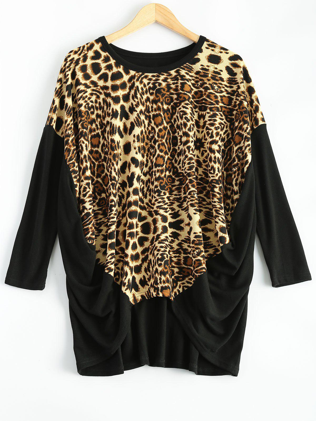 Leopard Asymmetric Ruched T-Shirt - BLACK ONE SIZE