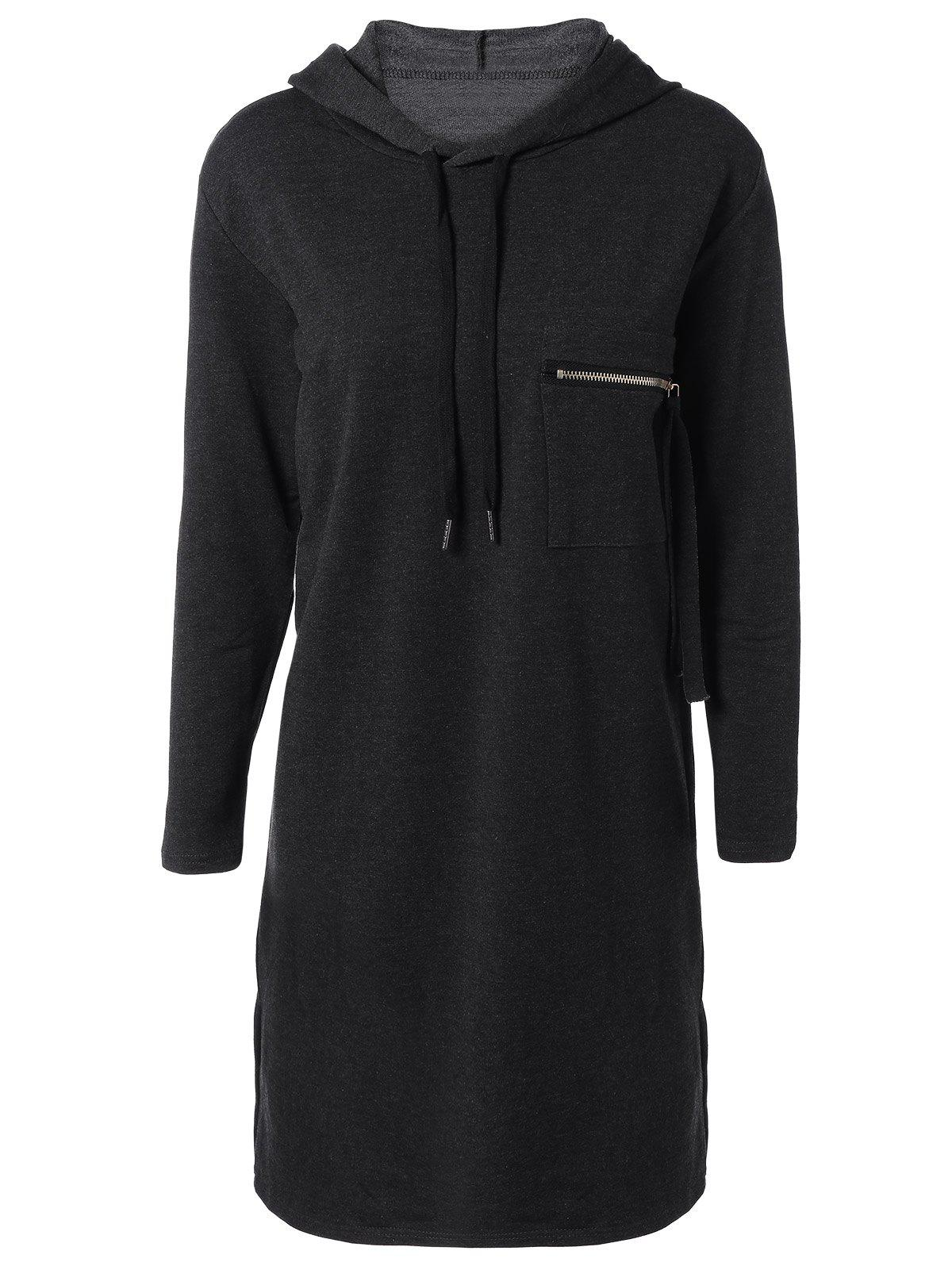 Hooded Long Sleeve Dress with PocketWomen<br><br><br>Size: ONE SIZE<br>Color: DEEP GRAY