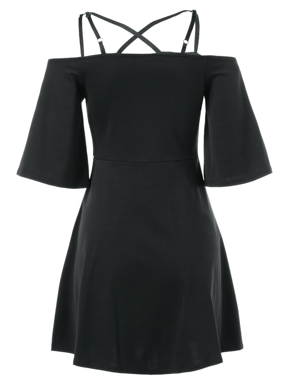 Cami de Bell Sleeve Criss Cross Dress - Noir M
