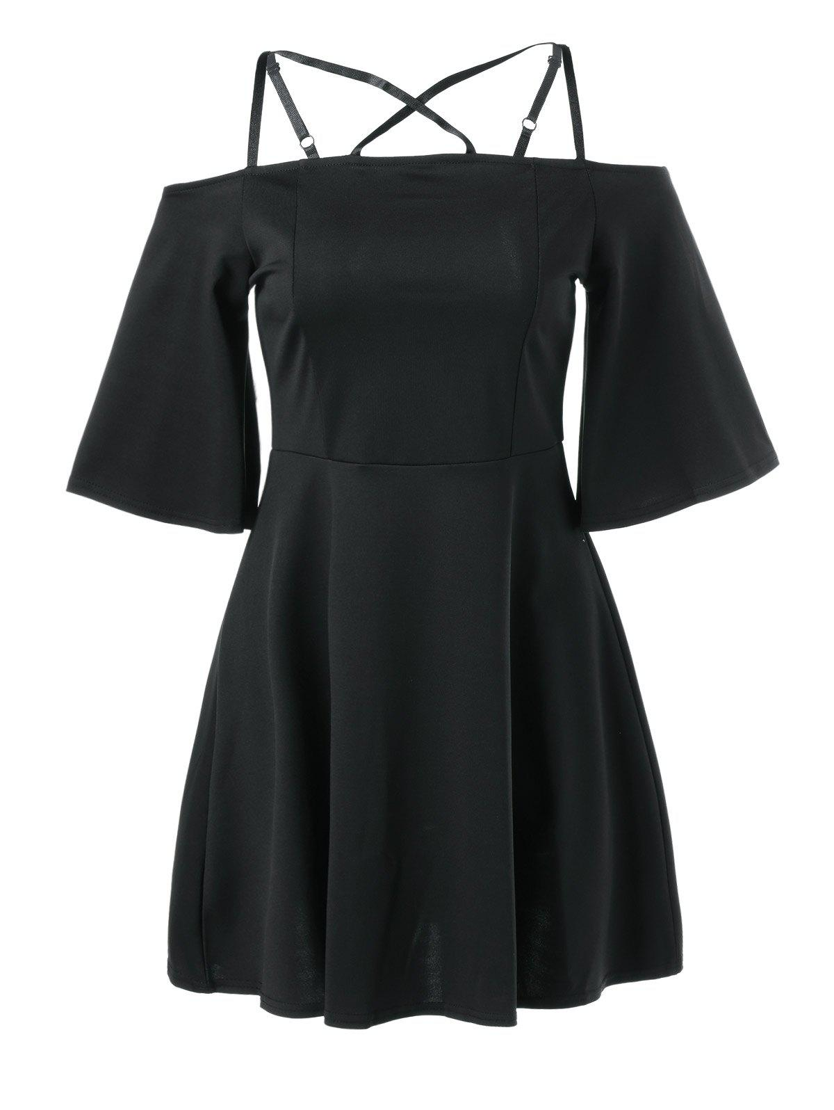 Cami Bell Sleeve Criss Cross Dress - BLACK L