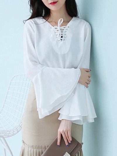Flare Sleeve Lace Up Chiffon Blouse lace up front flare sleeve blouse