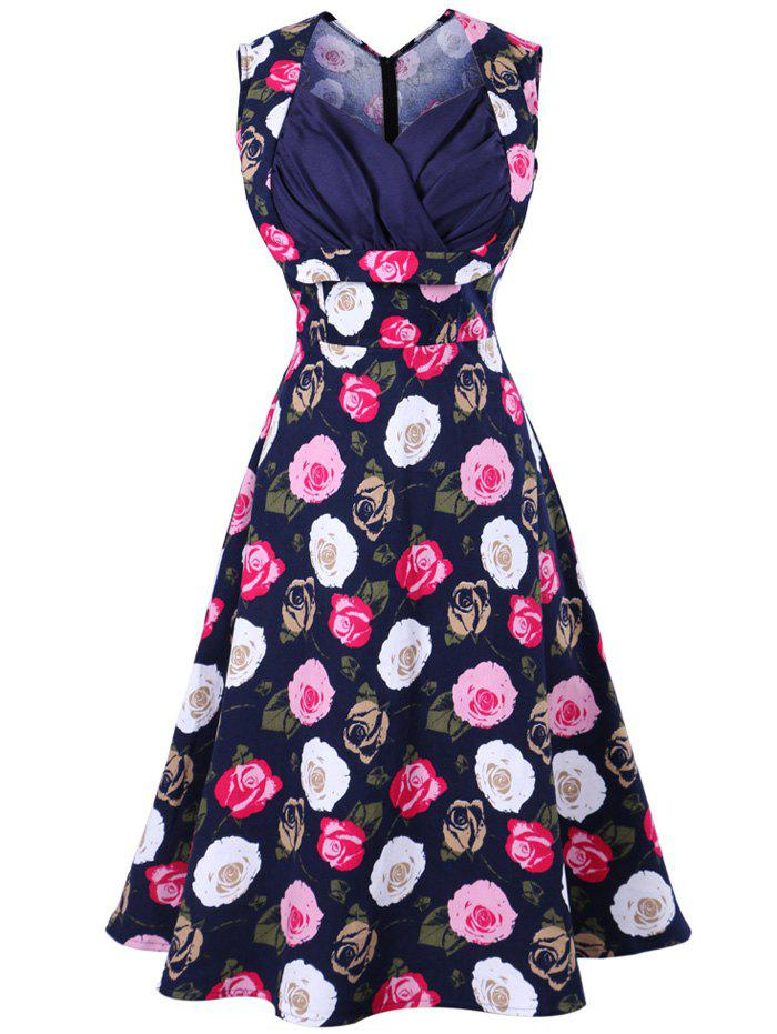 Sweetheart Neckline Print Swing Vintage Dress - PURPLISH BLUE S