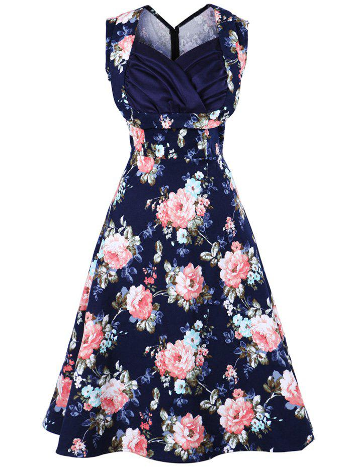 Floral Print Sweetheart Neckline Vintage Swing Dress - PURPLISH BLUE S