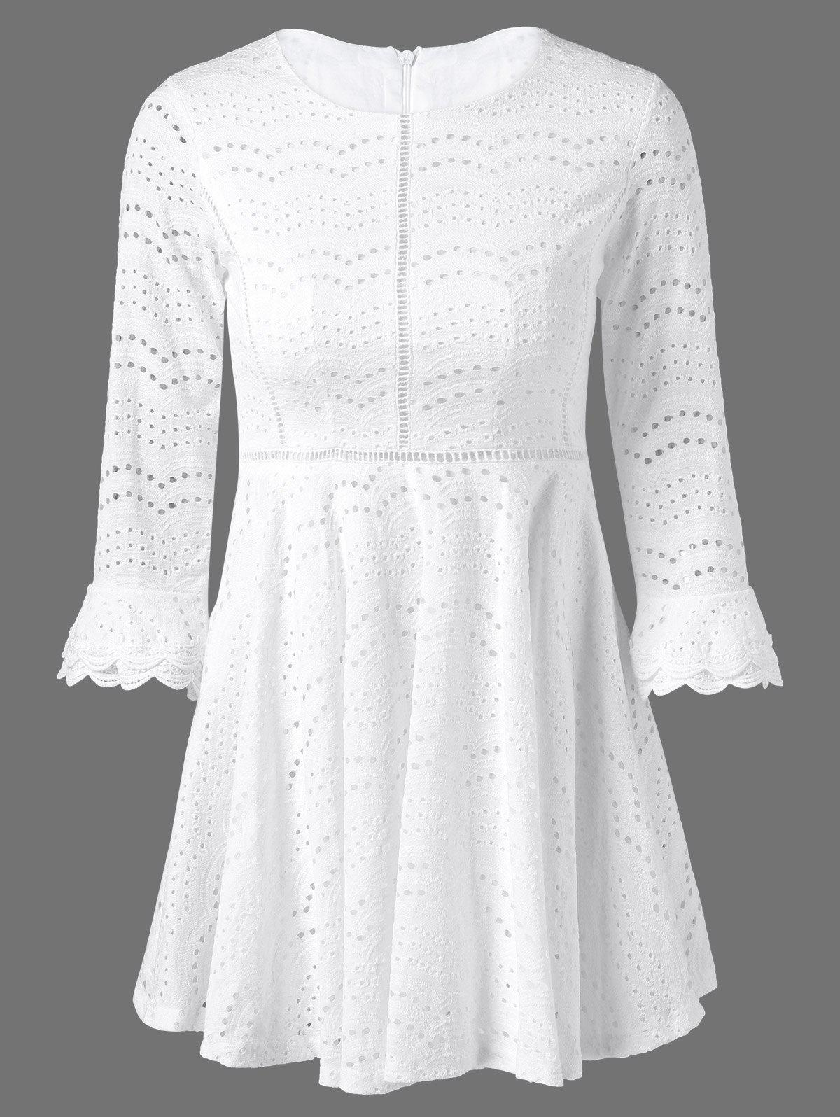 Bell Sleeve Sheer Lace Fit and Flare Dress, White