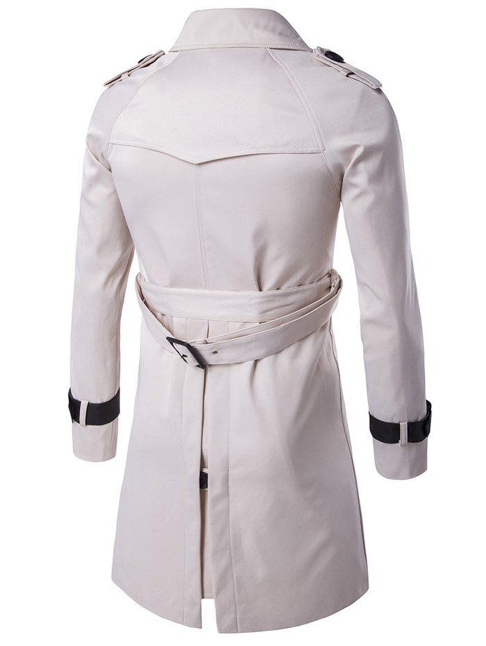 Epaulet Double-Breasted PU-Leather Belt Embellished Trench Coat - OFF WHITE M