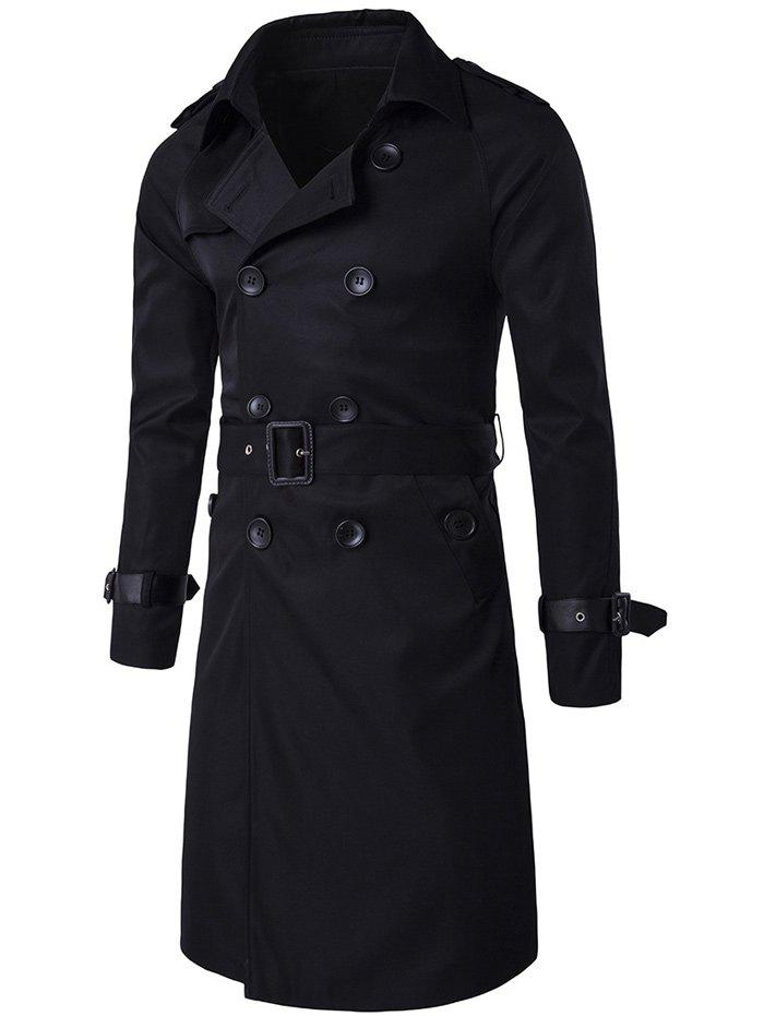 Epaulet Double-Breasted PU-Leather Belt Embellished Trench Coat - BLACK XL